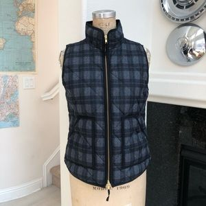 J. Crew quilted vest plaid small